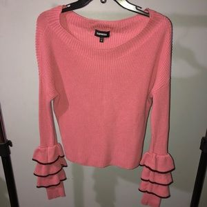 Express sweater with ruffled long sleeves